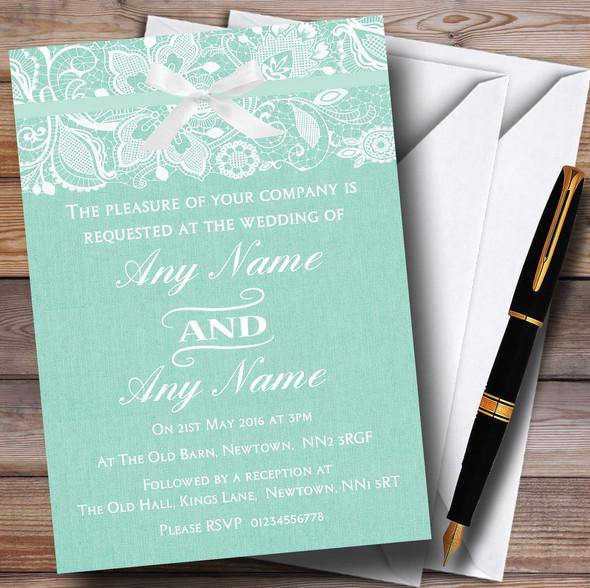 Vintage Mint Green Burlap & Lace Personalised Wedding Invitations