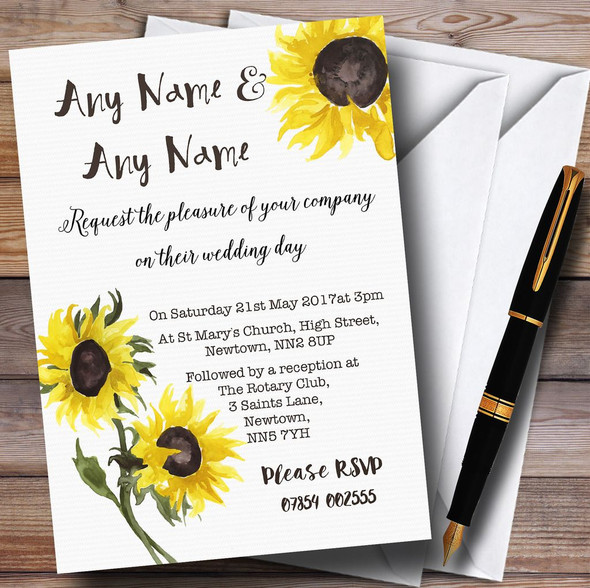 Stunning Watercolour Sunflower Personalised Wedding Invitations