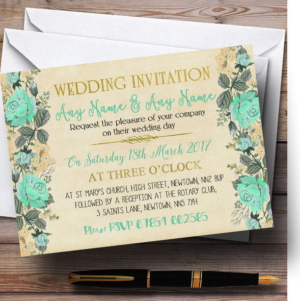 Vintage Mint Green & Gold Watercolour Personalised Wedding Invitations