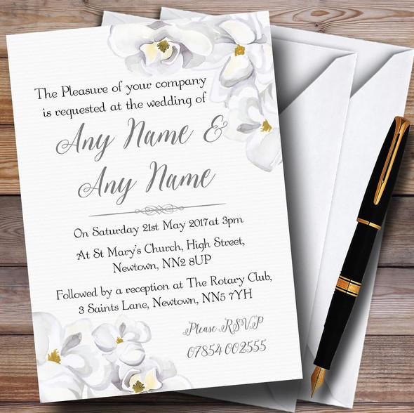 Stunning White Watercolour Magnolias Personalised Wedding Invitations