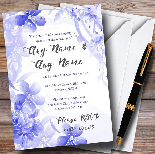 Blue Watercolour Floral Personalised Wedding Invitations
