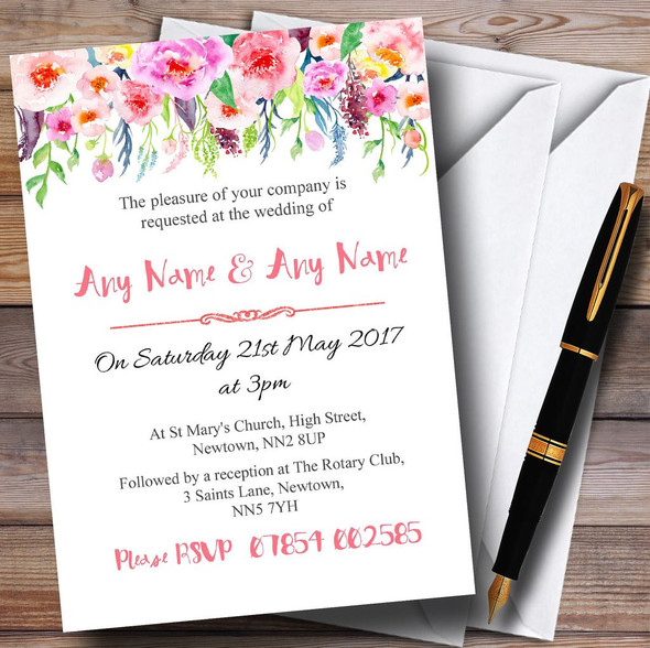 Coral Pink Watercolour Floral Personalised Wedding Invitations