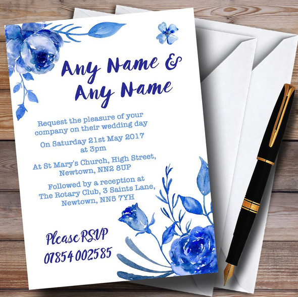 Blue & White Watercolour Floral Personalised Wedding Invitations
