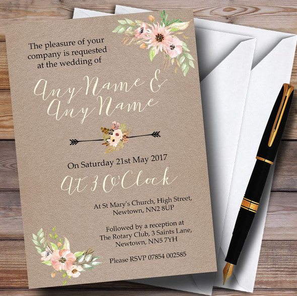 Rustic Vintage Watercolour Peach Floral Personalised Wedding Invitations