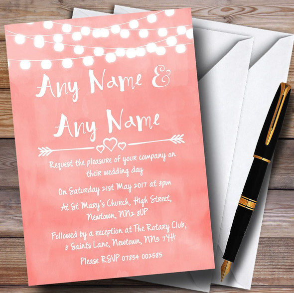 Coral Pink Lights Watercolour Personalised Wedding Invitations