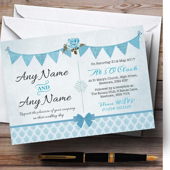 Vintage Rustic Style Bunting Powder Baby Blue Personalised Wedding Invitations