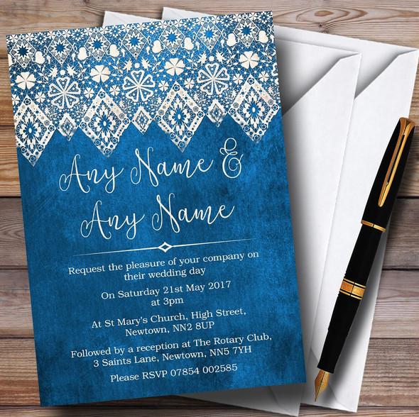 Vintage Blue Old Paper & Vintage Lace Effect Personalised Wedding Invitations