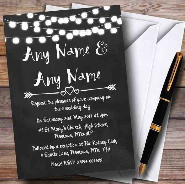 Chalk Style and Lights Watercolour Personalised Wedding Invitations