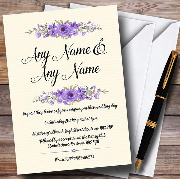 Watercolour Purple Floral Rustic Personalised Wedding Invitations