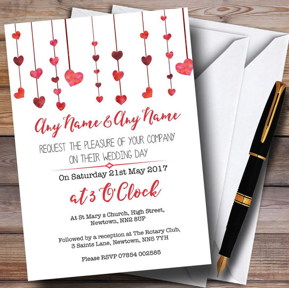 Red Watercolour Heart Drop Personalised Wedding Invitations