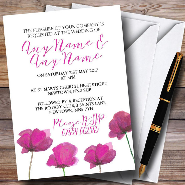 Stunning Watercolour Poppies Pink Personalised Wedding Invitations