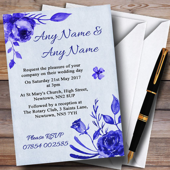 Pale Blue & White Watercolour Floral Personalised Wedding Invitations