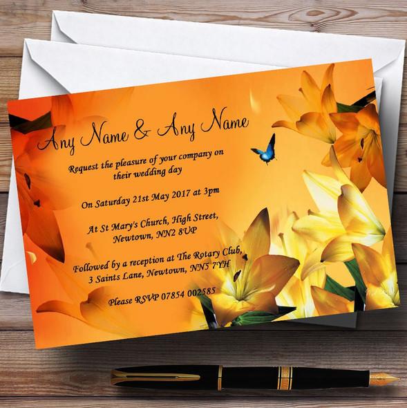 Orange Lily Flower Personalised Wedding Invitations