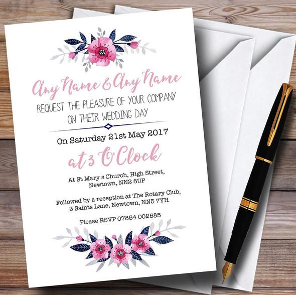 Navy Blue & Pink Subtle Floral Personalised Wedding Invitations