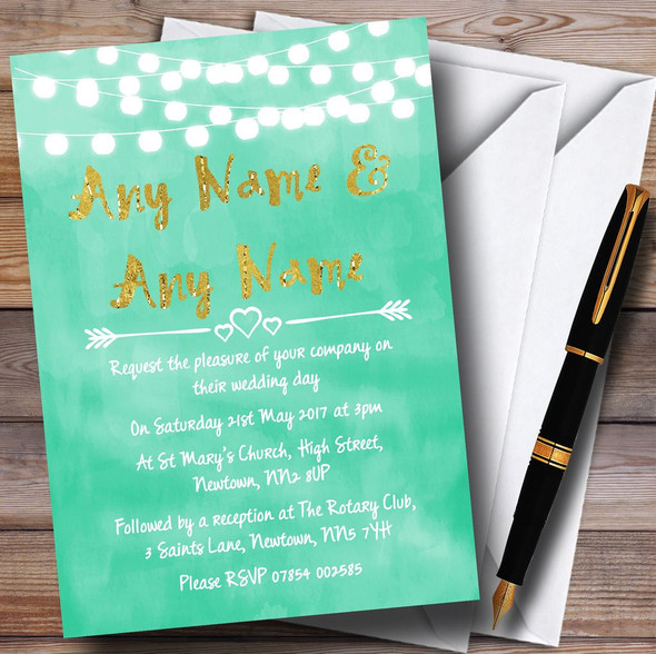 Mint Green & Gold Lights Watercolour Personalised Wedding Invitations