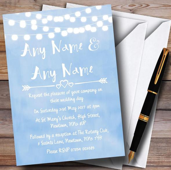 Powder Blue Lights Watercolour Personalised Wedding Invitations