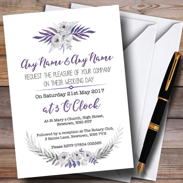 Purple & Silver Subtle Floral Personalised Wedding Invitations