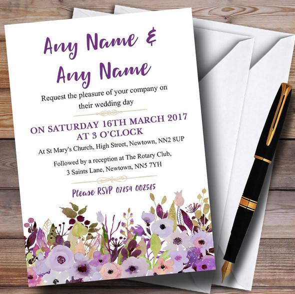 Lilac & Purple Peonies Personalised Wedding Invitations