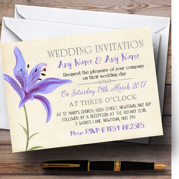 Purple Lily Vintage Personalised Wedding Invitations