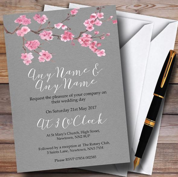 Rustic Vintage Dark Grey & Pink Blossom Personalised Wedding Invitations