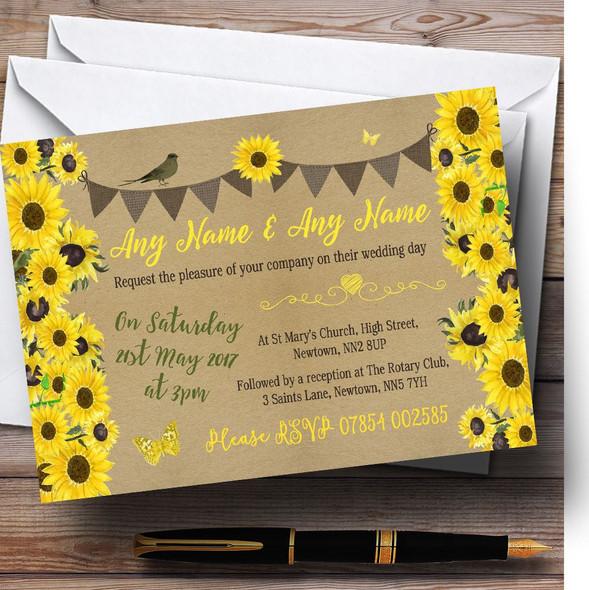 Rustic Sunflowers Vintage Personalised Wedding Invitations