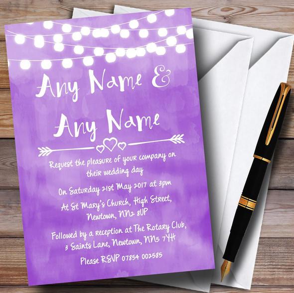 Purple and Lights Watercolour Personalised Wedding Invitations