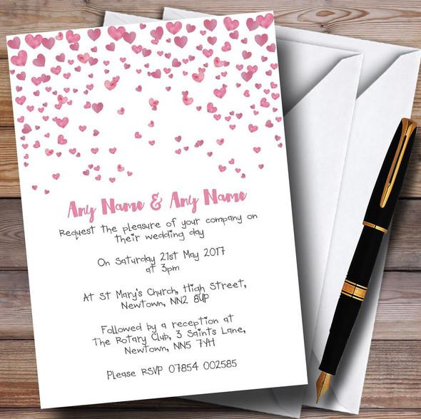 Pink Heart Confetti Personalised Wedding Invitations