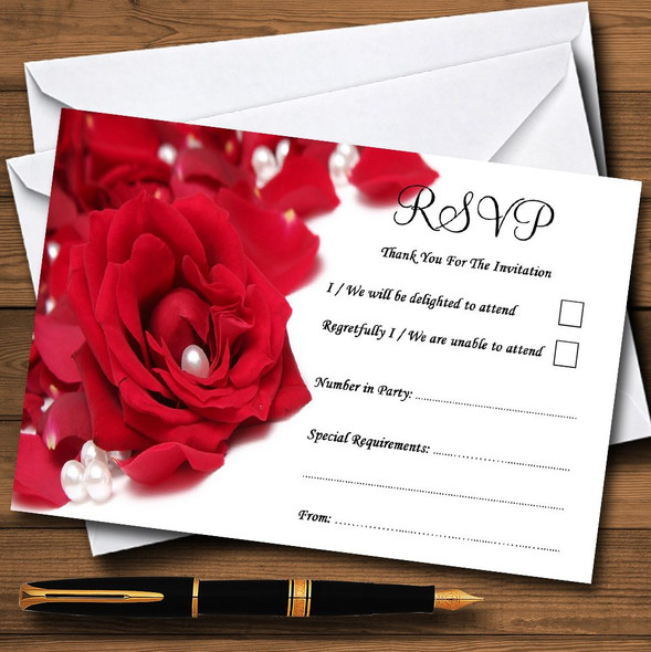 White Pearl Red Rose Petals Personalised RSVP Cards