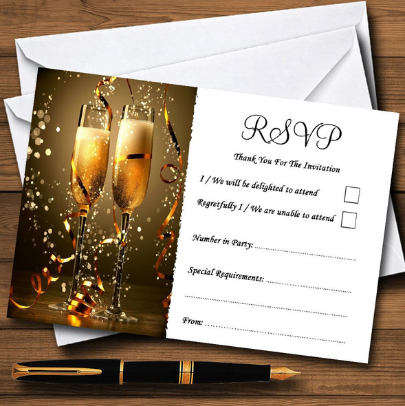 Black Champagne Personalised RSVP Cards