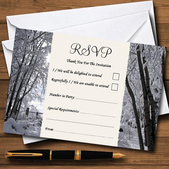 Winter Snow Scene Personalised RSVP Cards
