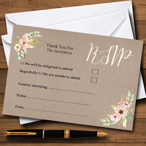 Rustic Vintage Watercolour Peach Floral Personalised RSVP Cards