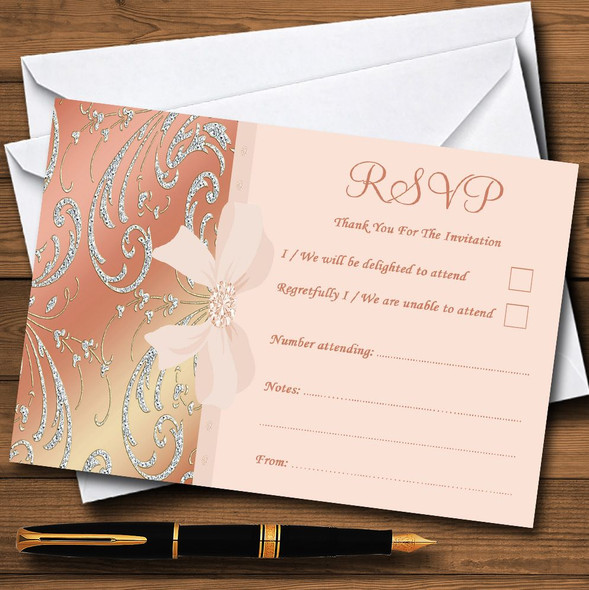 Pale Pink Coral Diamante Bow Wedding Personalised RSVP Cards
