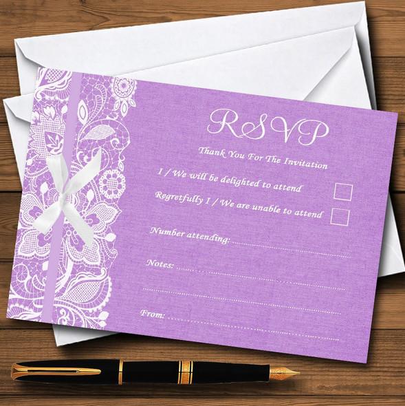 Vintage Lilac Purple Burlap & Lace Personalised RSVP Cards