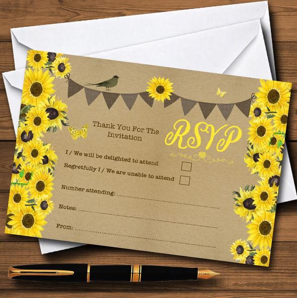 Rustic Sunflowers Vintage Personalised RSVP Cards