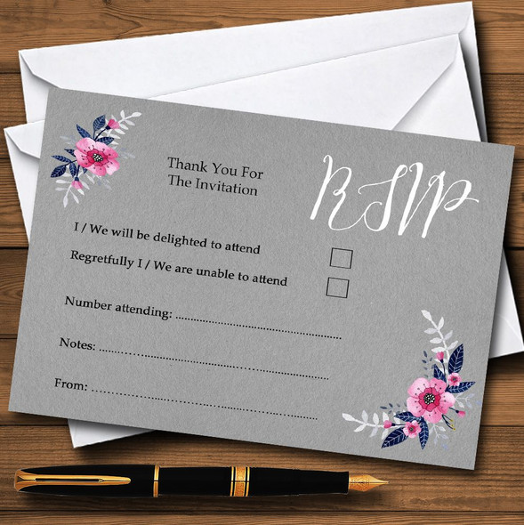 Rustic Vintage Watercolour Navy Blue & Silver Personalised RSVP Cards