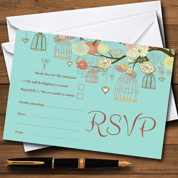 Vintage Shabby Chic Birdcage Turquoise Personalised RSVP Cards
