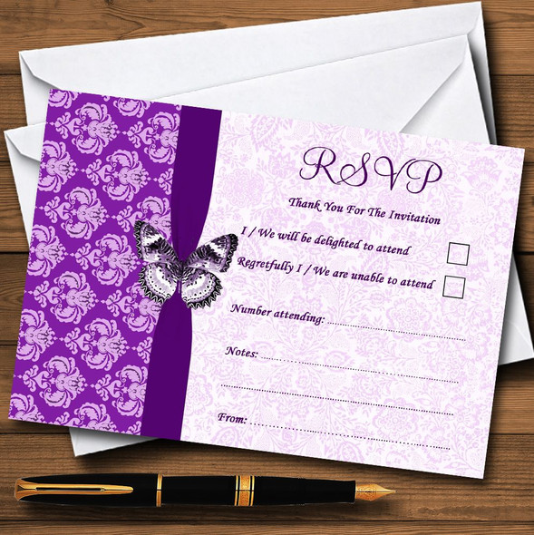 Cadbury Purple Vintage Floral Damask Butterfly Personalised RSVP Cards