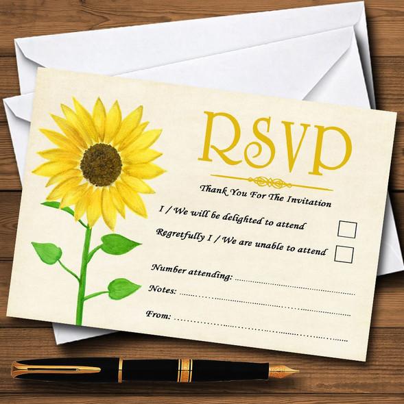 Vintage Sunflower Formal Personalised RSVP Cards