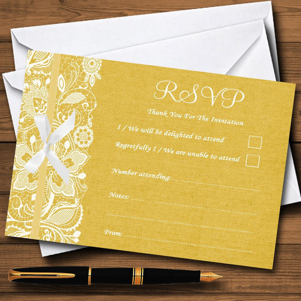 Vintage Golden Yellow Burlap & Lace Personalised RSVP Cards