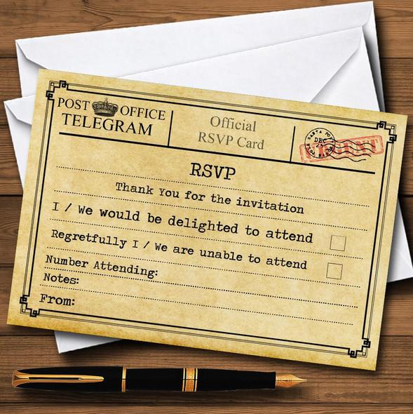 Vintage Telegram Typewritten Personalised RSVP Cards