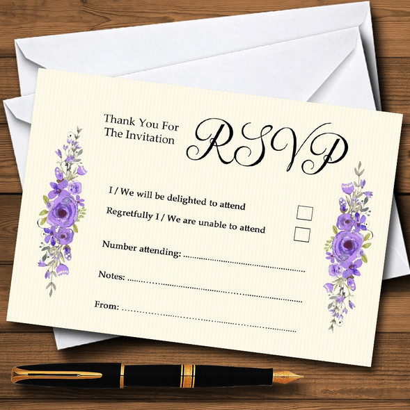 Watercolour Purple Floral Rustic Personalised RSVP Cards