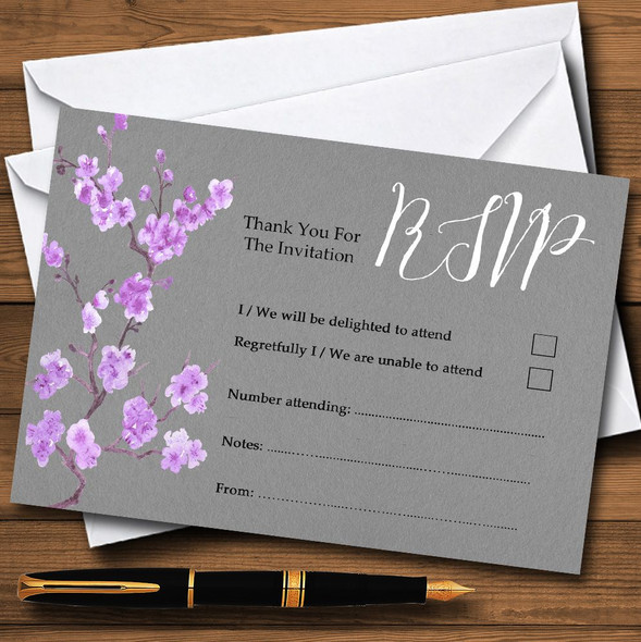 Rustic Vintage Dark Grey & Purple Blossom Personalised RSVP Cards