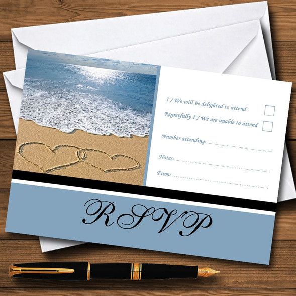 Love Heart Sand Beach Sea Personalised RSVP Cards