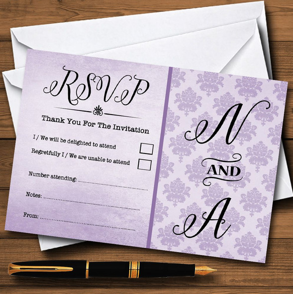 Vintage Damask Initials Lilac Purple Personalised RSVP Cards