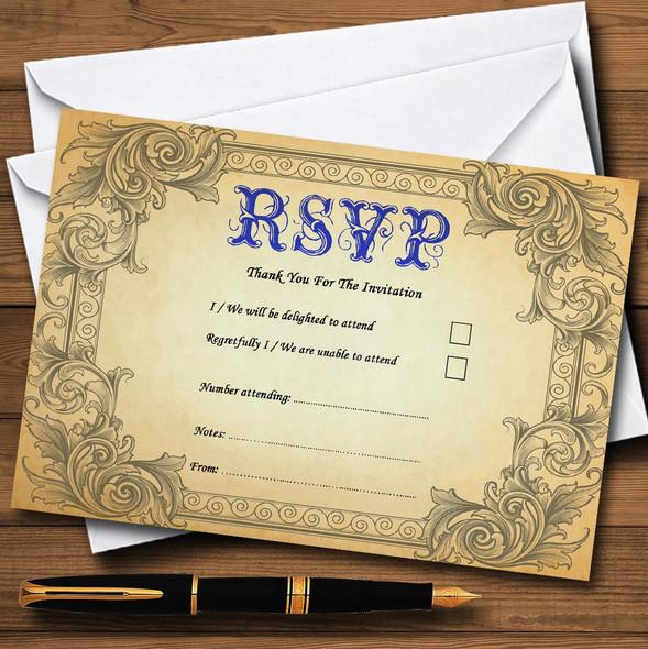 Typography Vintage Blue Postcard Personalised RSVP Cards