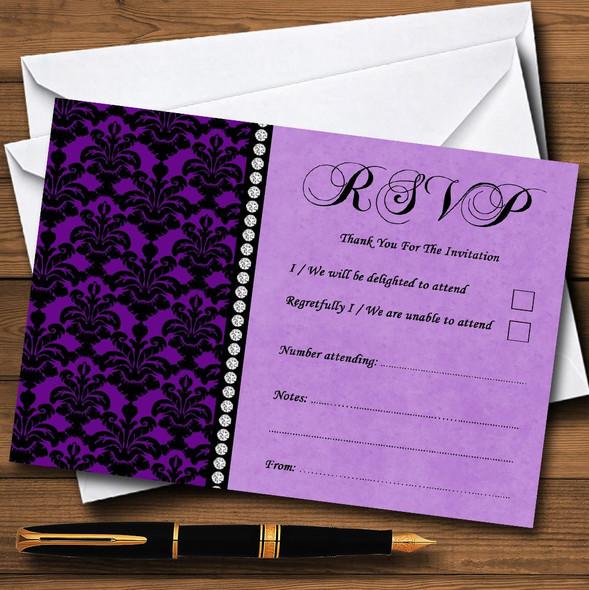 Cadbury Purple Black Damask & Diamond Personalised RSVP Cards
