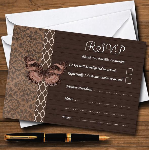 Rustic Vintage Wood Butterfly Brown Personalised RSVP Cards
