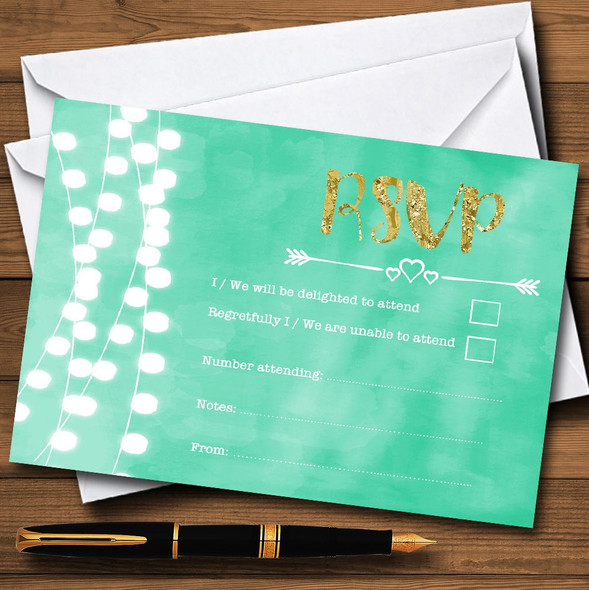 Mint Green & Gold Lights Watercolour Personalised RSVP Cards