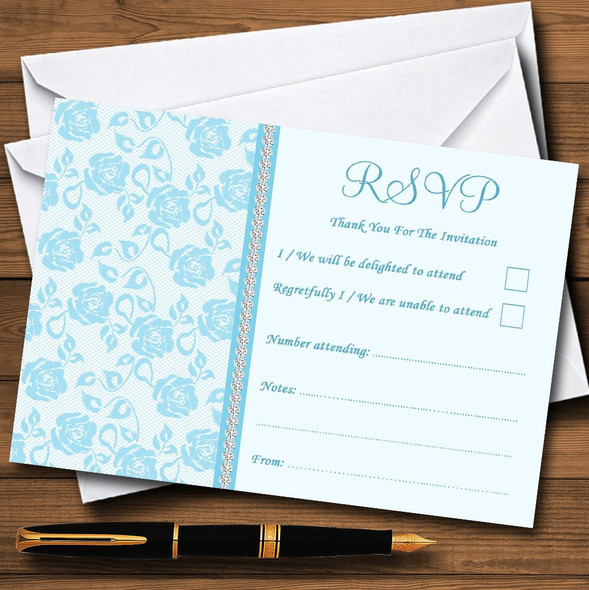 Pretty Sky Blue Floral Diamante Personalised RSVP Cards