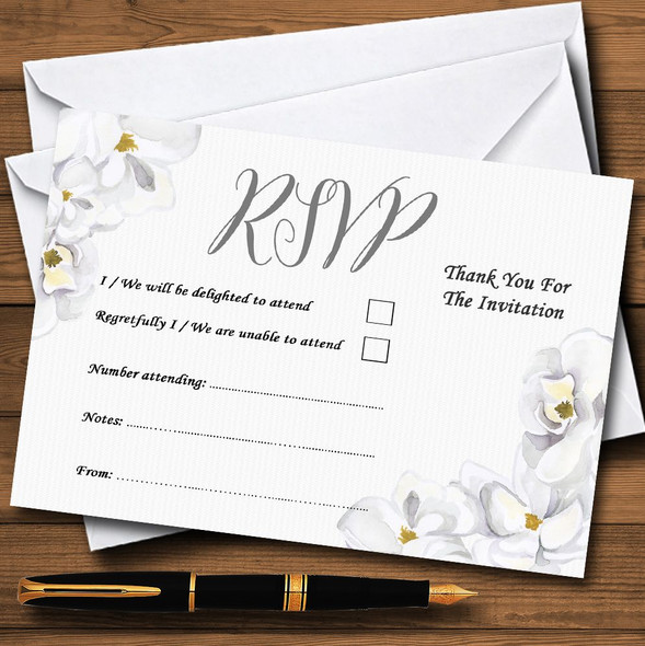 Stunning White Watercolour Magnolias Personalised RSVP Cards